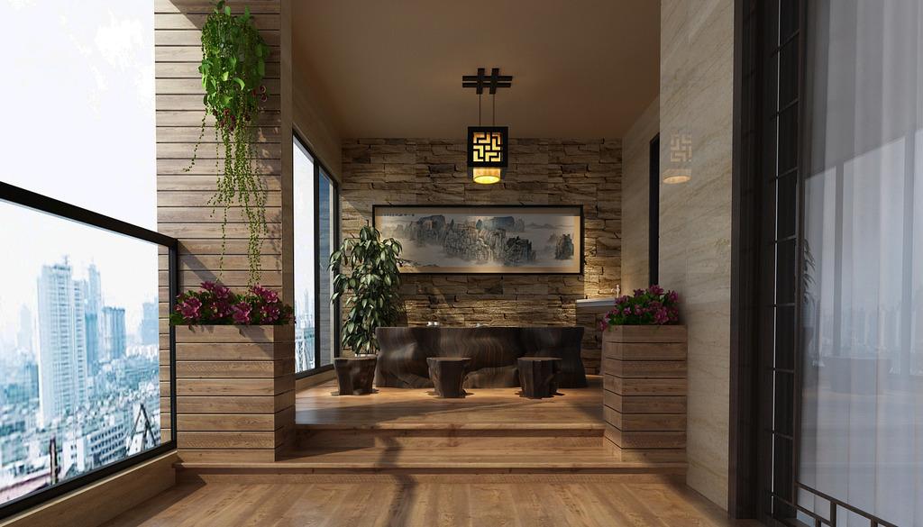 中式装修阳台上防腐木怎么安装与保养