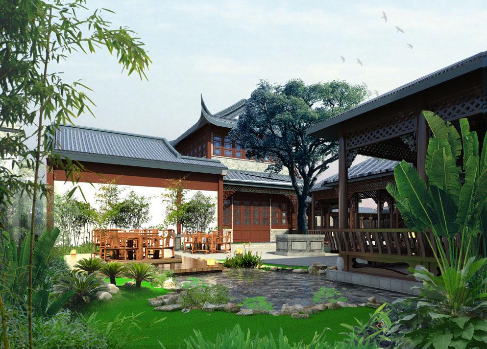 中式设计别墅庭院 古朴清旷余韵幽深