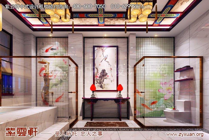 别墅中式设计的卫生间案例图