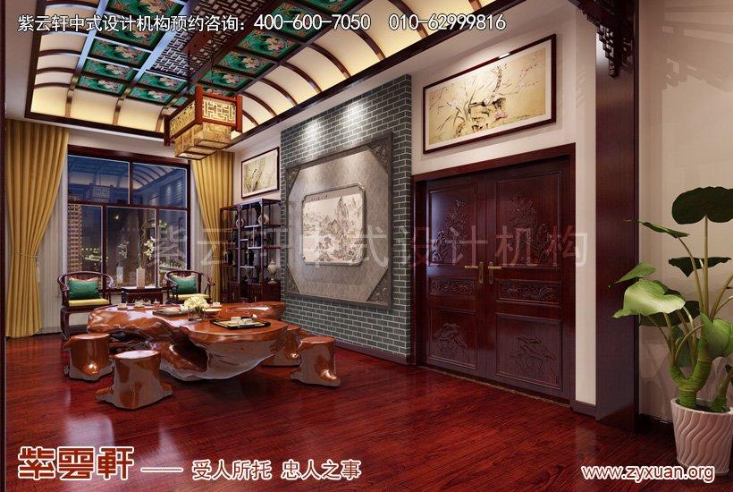 饮茶室的别墅中式设计效果图