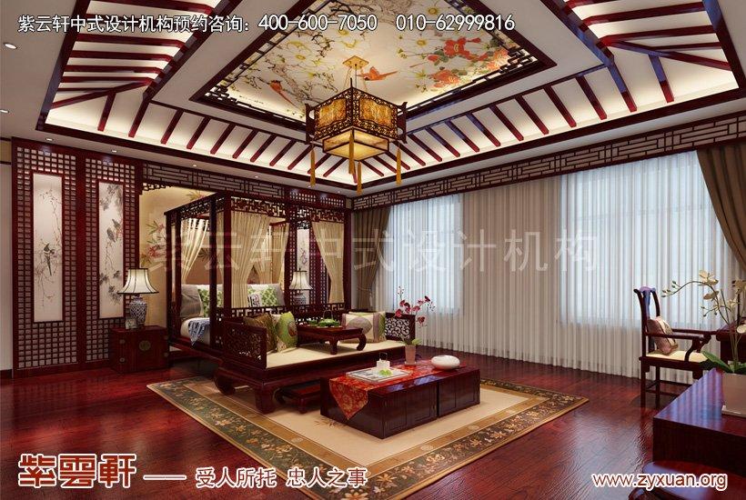 别墅中式设计的主卧案例图