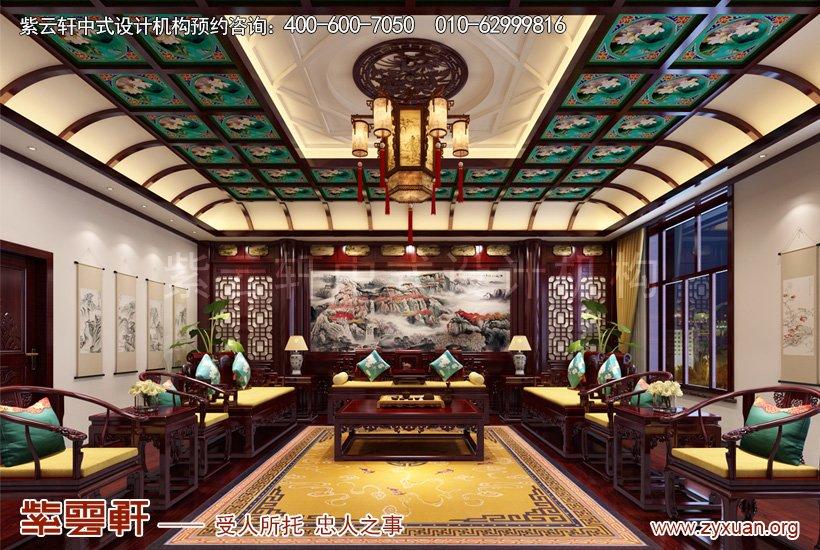 别墅中式设计的客厅案例图