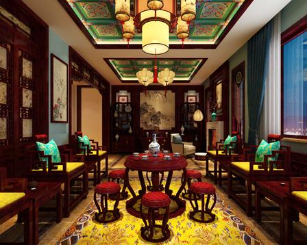 北京御汤山别墅中式装修效果图之东方艺术美