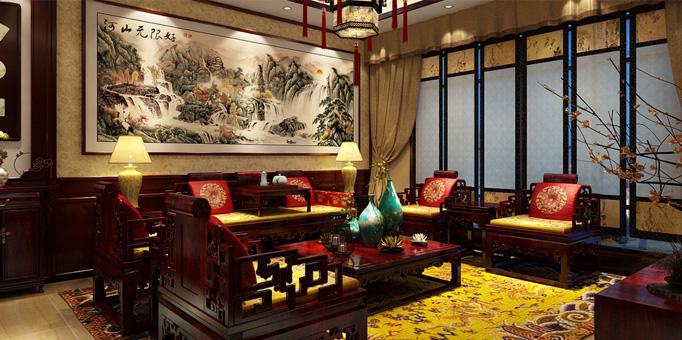 新中式装修风格案例—廊坊三层别墅华美精致