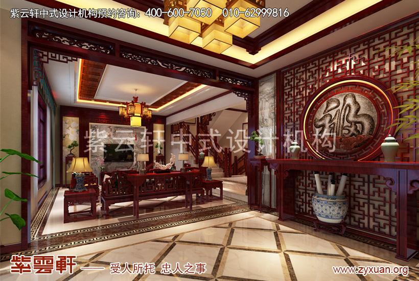 北京大兴独栋别墅简约古典中式装修案例,阆苑竹韵木温