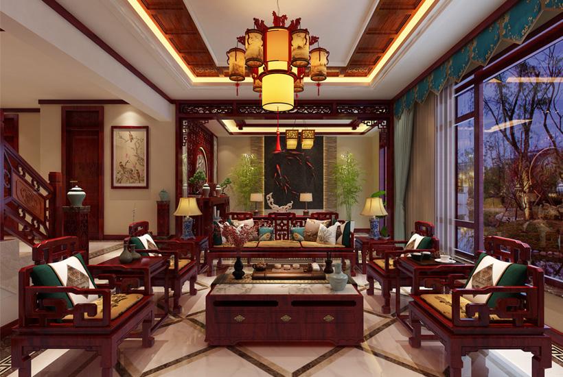 北京大兴独栋别墅简约古典中式装修案例,阆苑竹韵木温 庭院杨柳堆烟