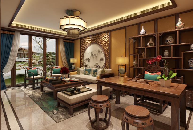 顺义简约古典中式装修别墅设计 木色纯香袅袅烟