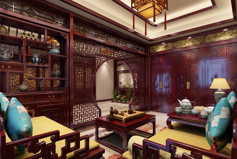 赤峰古典中式别墅豪宅设计案例赏析,室内花格万乘散芬芳