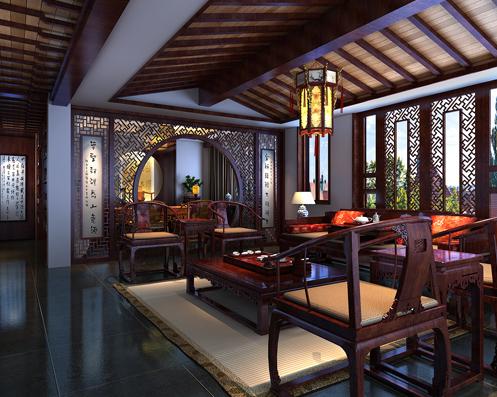 李先生豪宅别墅中式装修设计案例赏析--低调奢华的古典风格