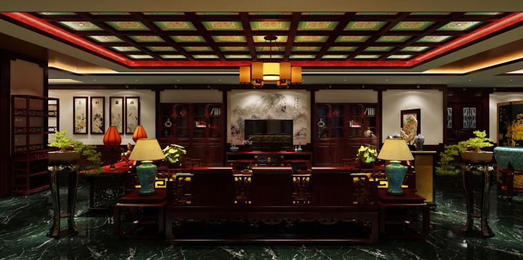 浙江大厦中式装修私人会所 诗情洇染的华贵空间