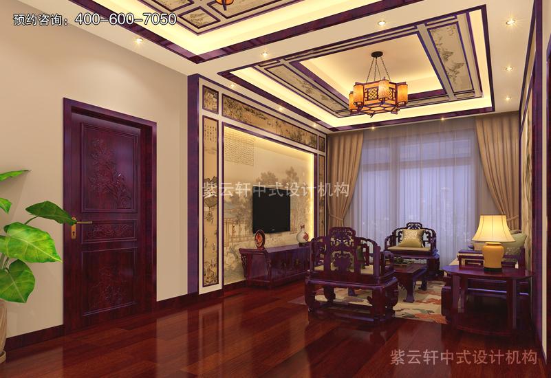 客厅-别墅复古中式装修效果图