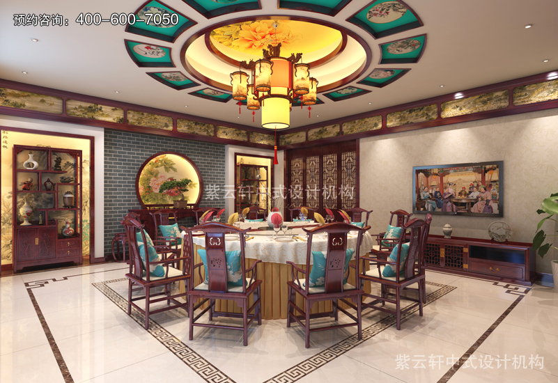 餐厅-别墅复古中式装修效果图