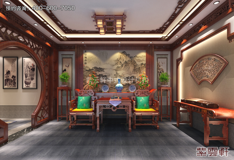 独栋别墅做中式装饰装潢就用复古装修效果图