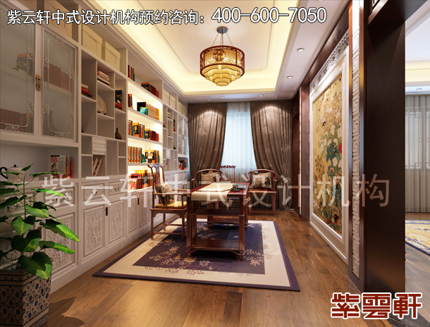 简约中式设计别墅的二楼过道,古风浓郁,藏阁和雕刻墙饰共守了镂空