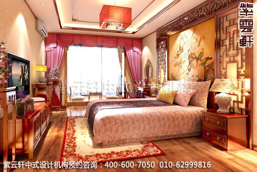 豪华装修图片大全之卧室复古装修图,红木衣柜造型稳重端庄,中式古典