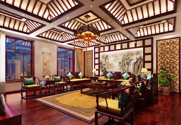 赤峰刘总800平古典中式别墅装修效果图,宁静古雅,充满古典韵味