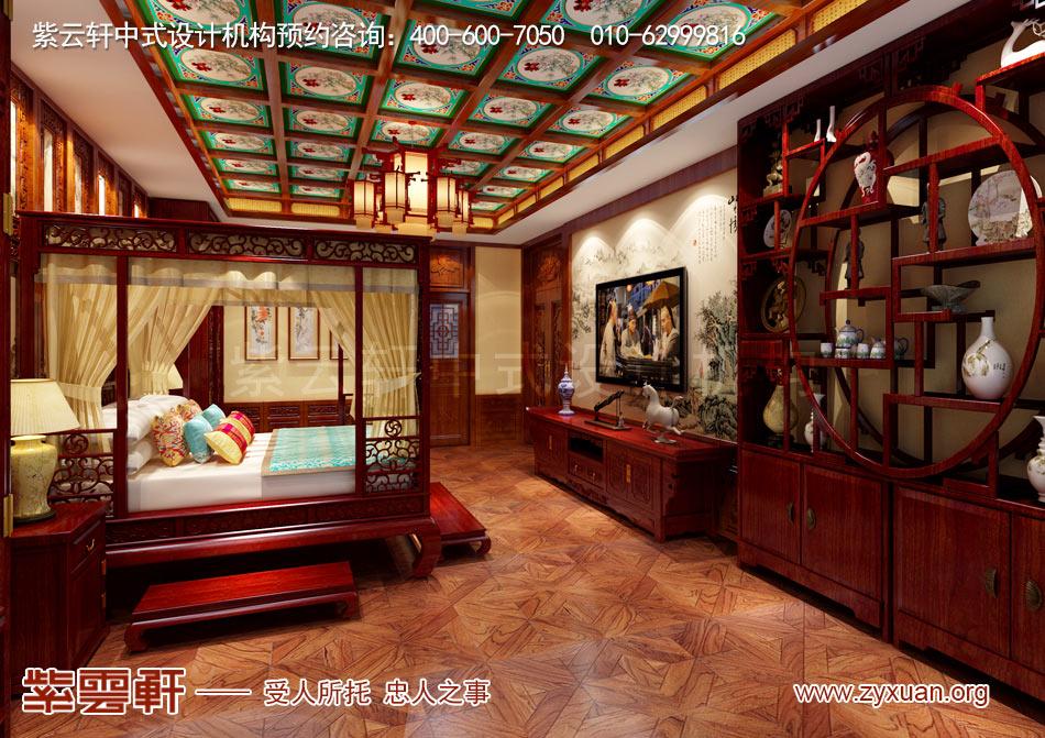 别墅主卧中式古典装修效果图