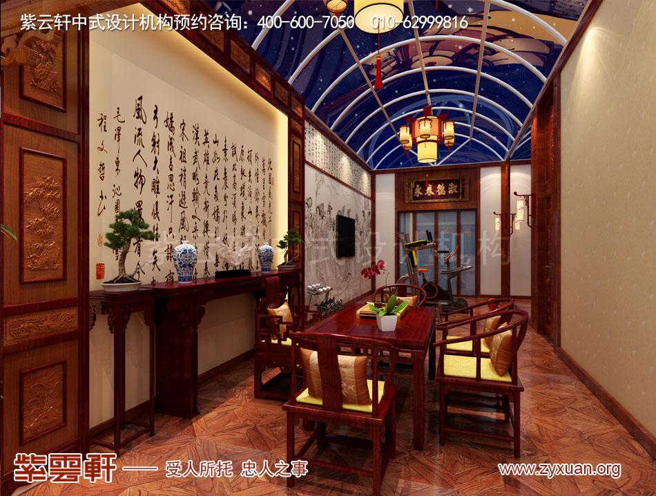 别墅阳台中式古典装修效果图