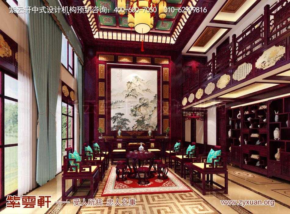 别墅客厅中式古典装修效果图