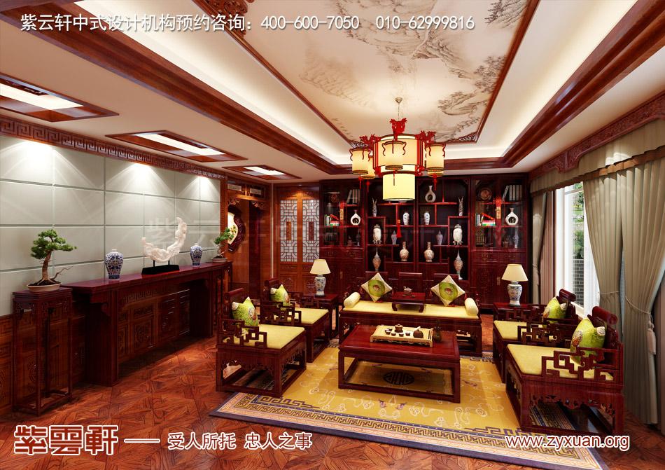 别墅起居室中式古典装修效果图