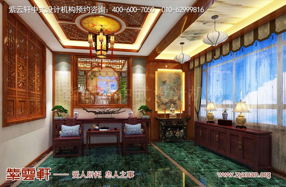 别墅门厅中式古典装修效果图