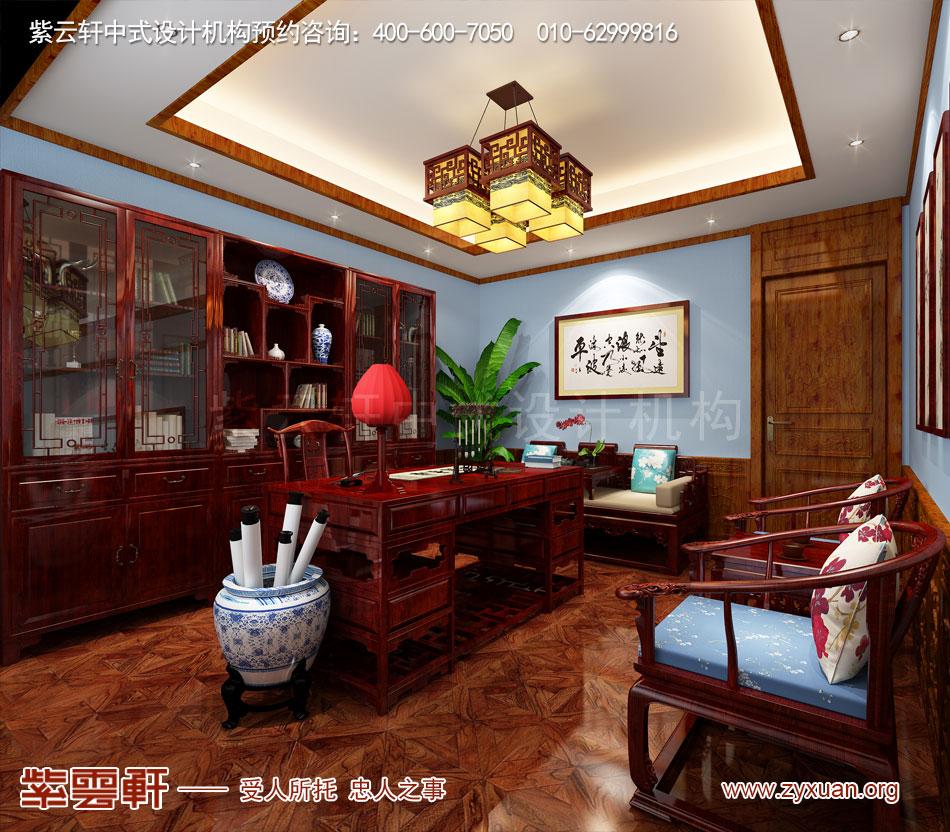别墅书房中式古典装修效果图