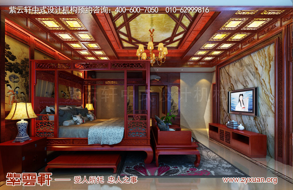 传统古典中式别墅主卧装修效果图