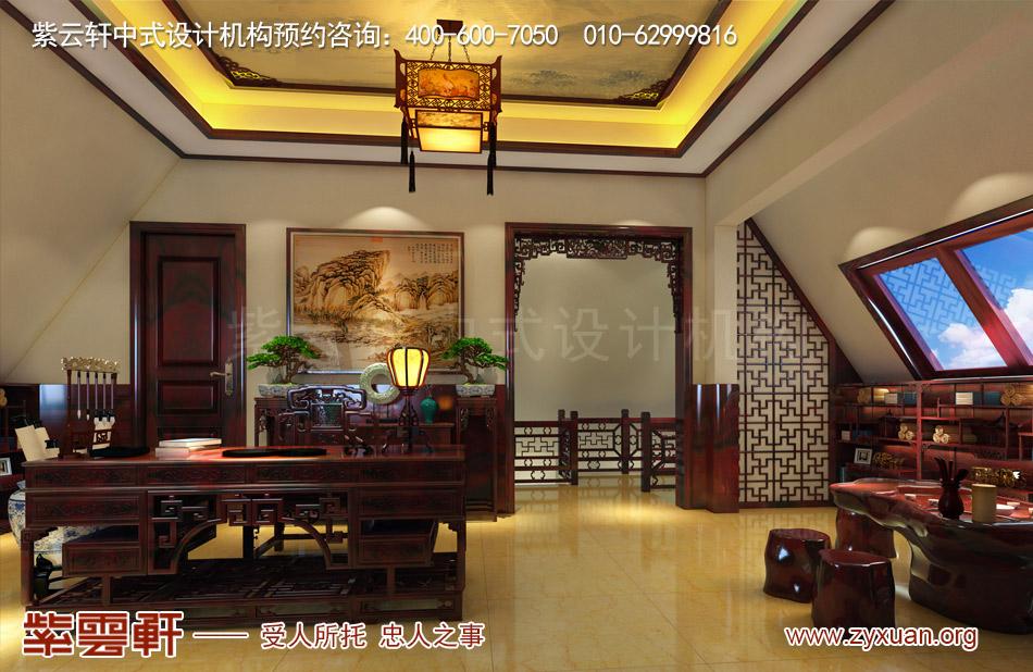 传统古典中式别墅书房装修效果图