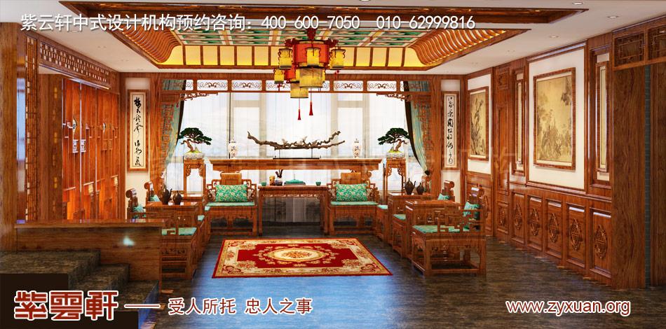 传统古典中式别墅中堂装修效果图