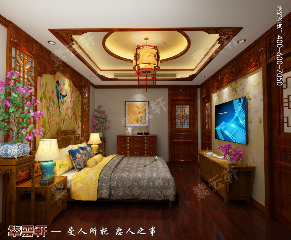 别墅主卧中式装饰图片.jpg