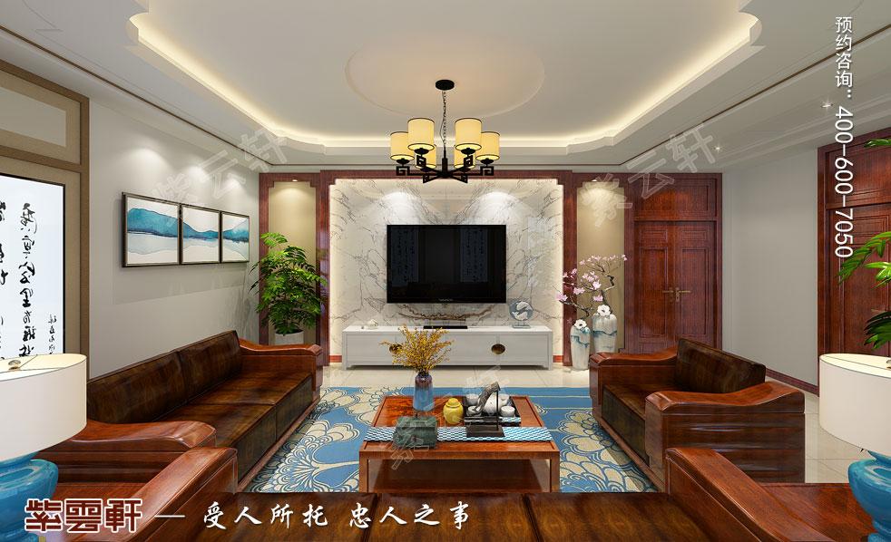 别墅二层客厅中式装饰图片