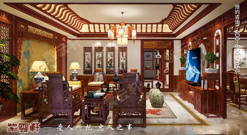 别墅客厅简约古典中式装饰效果图