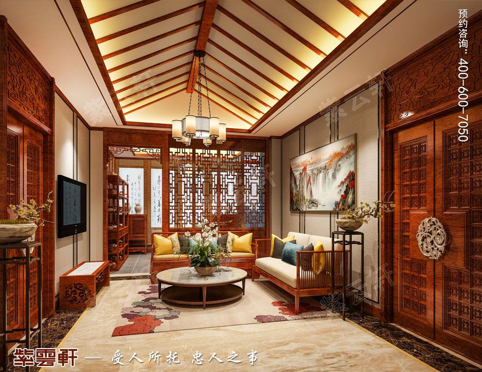 别墅主卧起居室简约古典中式装饰效果图