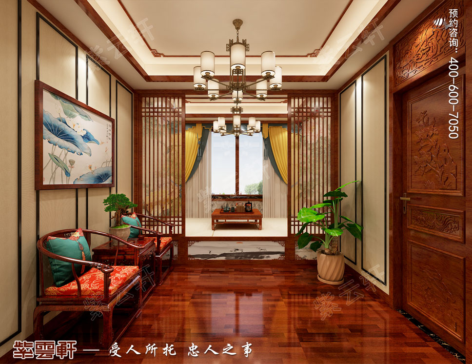 别墅休闲榻榻米简约古典中式装饰效果图