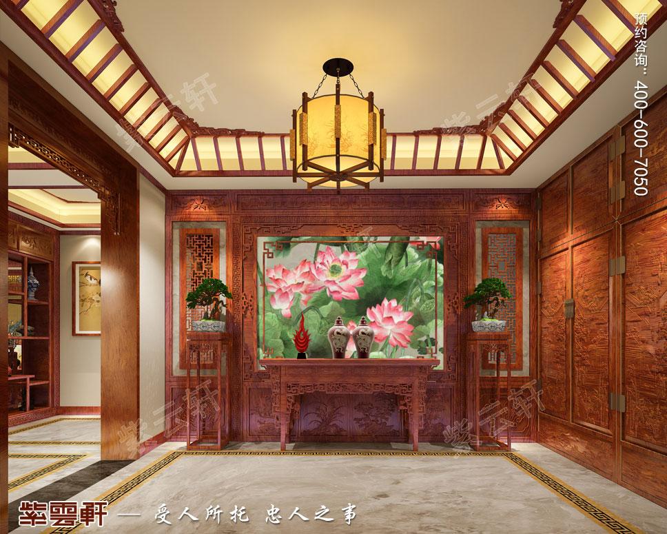 别墅一层门厅简约古典中式装饰效果图