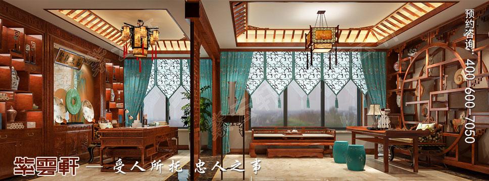 别墅主卧书房简约古典中式装饰效果图