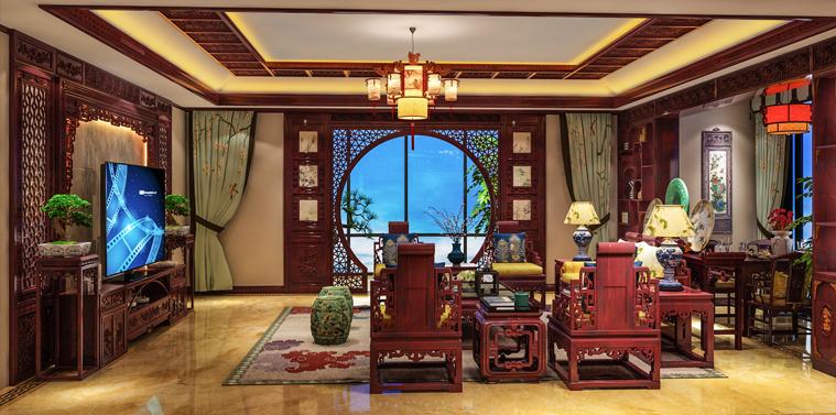 陕西汉中复式楼古典中式装修效果图 诗意栖居的清雅
