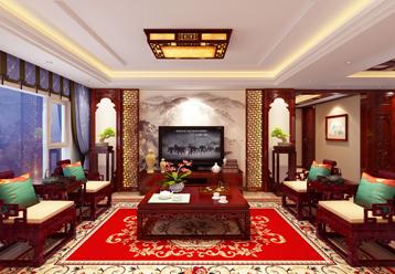 张家口蔚县平层简约古典中式装修效果图  华贵雅致 清秀俊逸