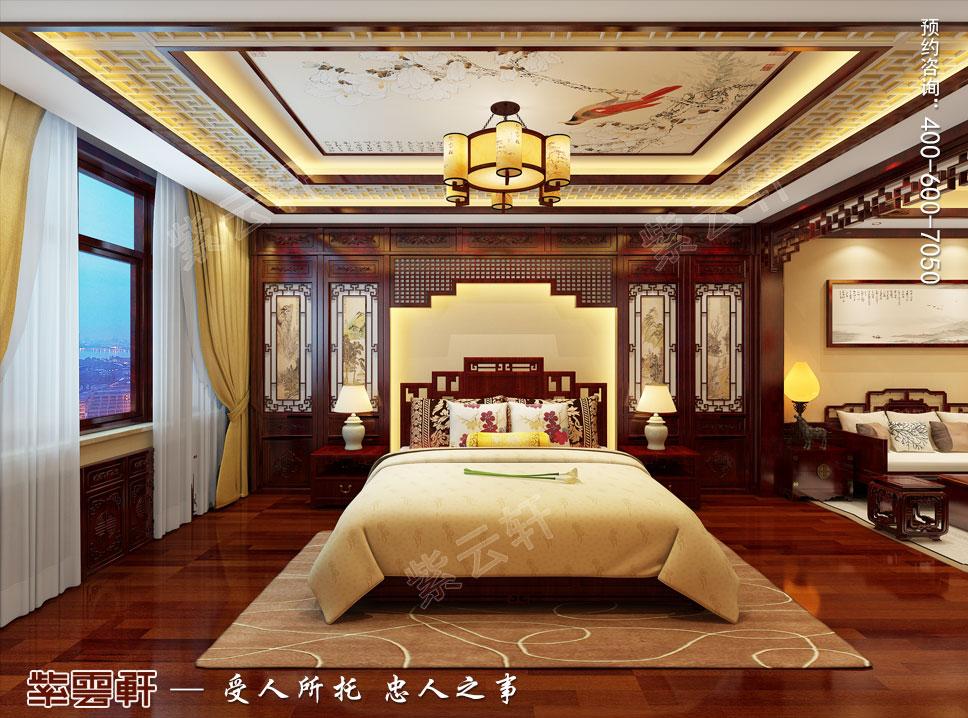 别墅主卧简约古典中式装修效果图