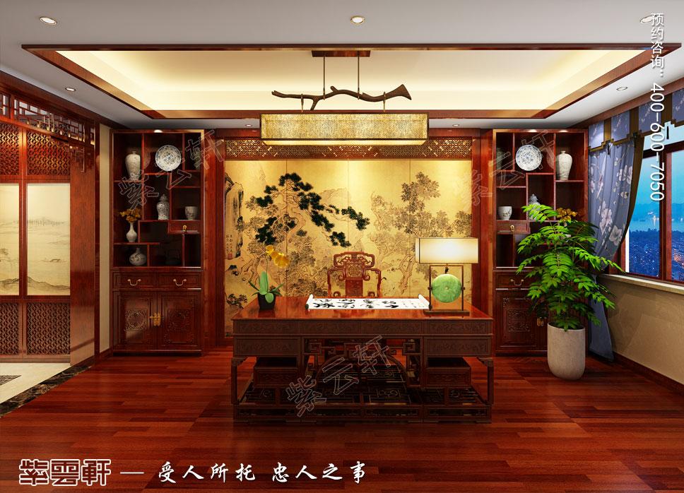 别墅书房简约古典中式装修效果图