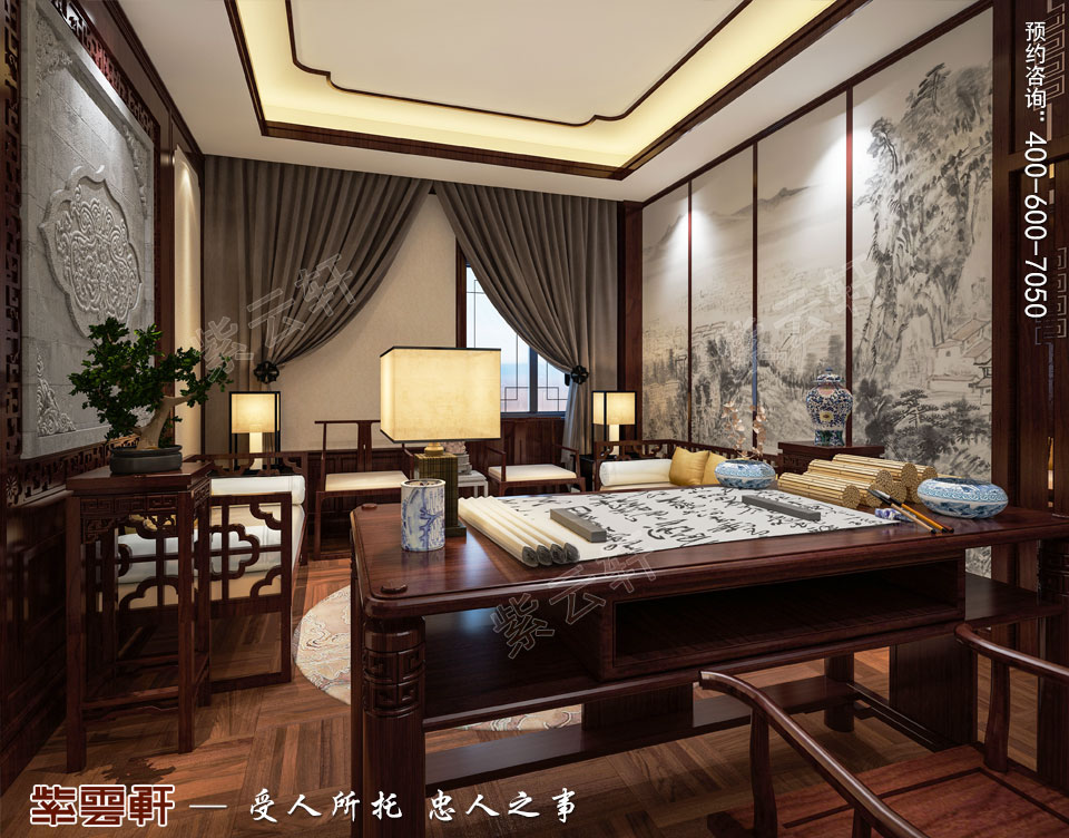 中式设计书房装修图片