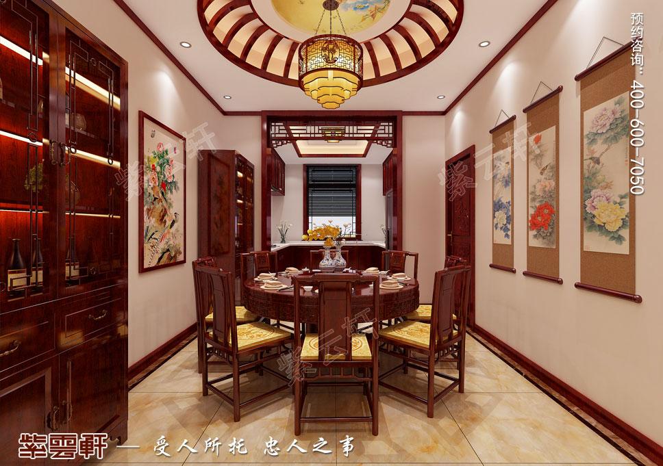 别墅餐厅厨房现代中式设计效果图
