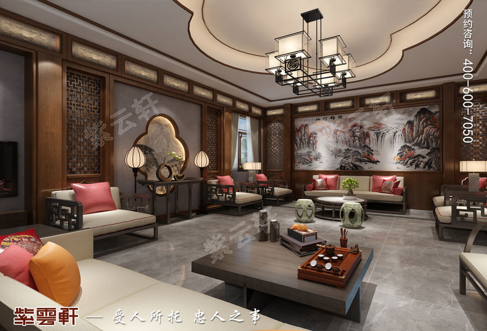 接待客厅现代中式装饰效果图