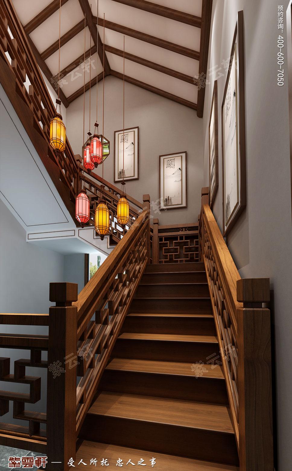 楼梯现代中式装饰效果图