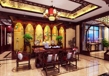 天津复式楼古典中式装修设计效果图  无一处不雅致