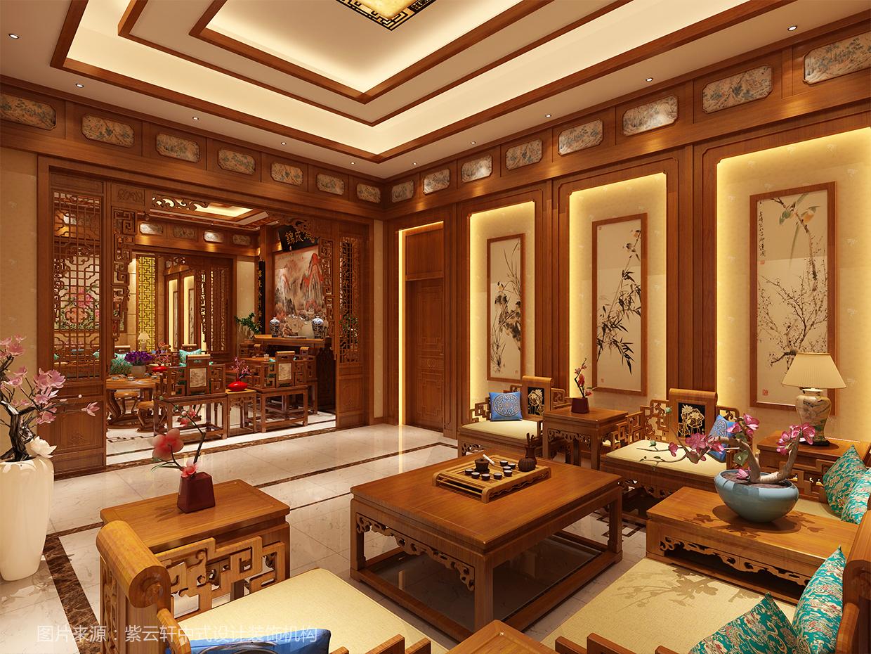 客厅中式装修 别墅