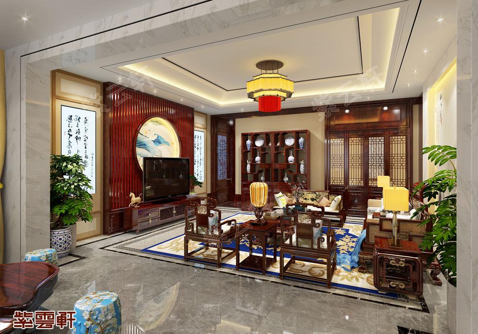 广东王总 客厅红木家具  中式装修 古色古香