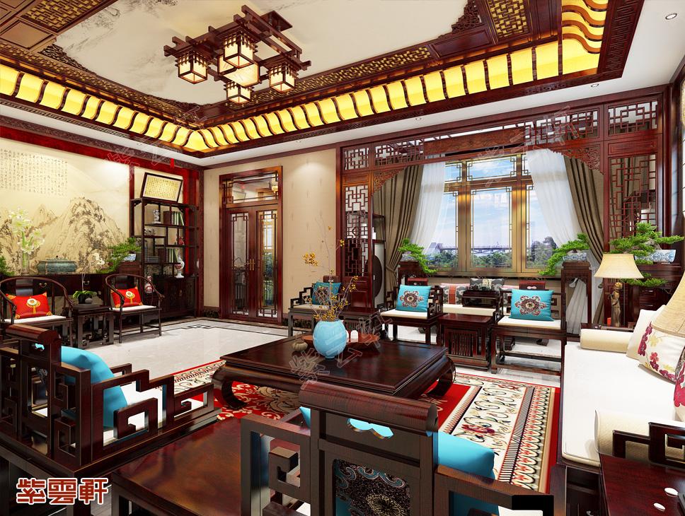 天津独栋别墅简约古典中式装修效果图   典雅庄重 富贵宁华