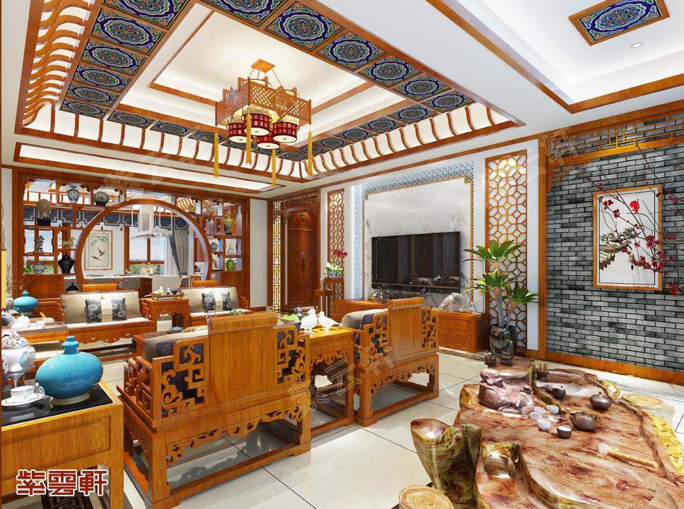乌兰察布平层现代中式风格装修效果图   以华彩争胜,于静雅建功