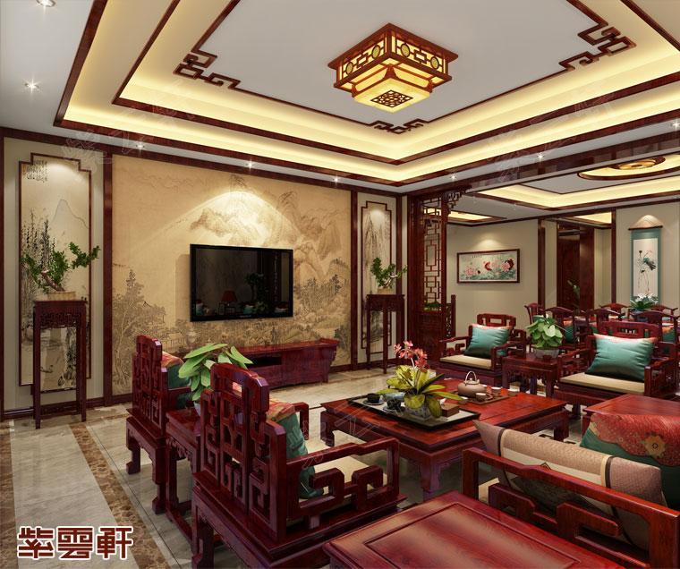湖南长沙别墅中式装修效果图 璞玉般的温亮